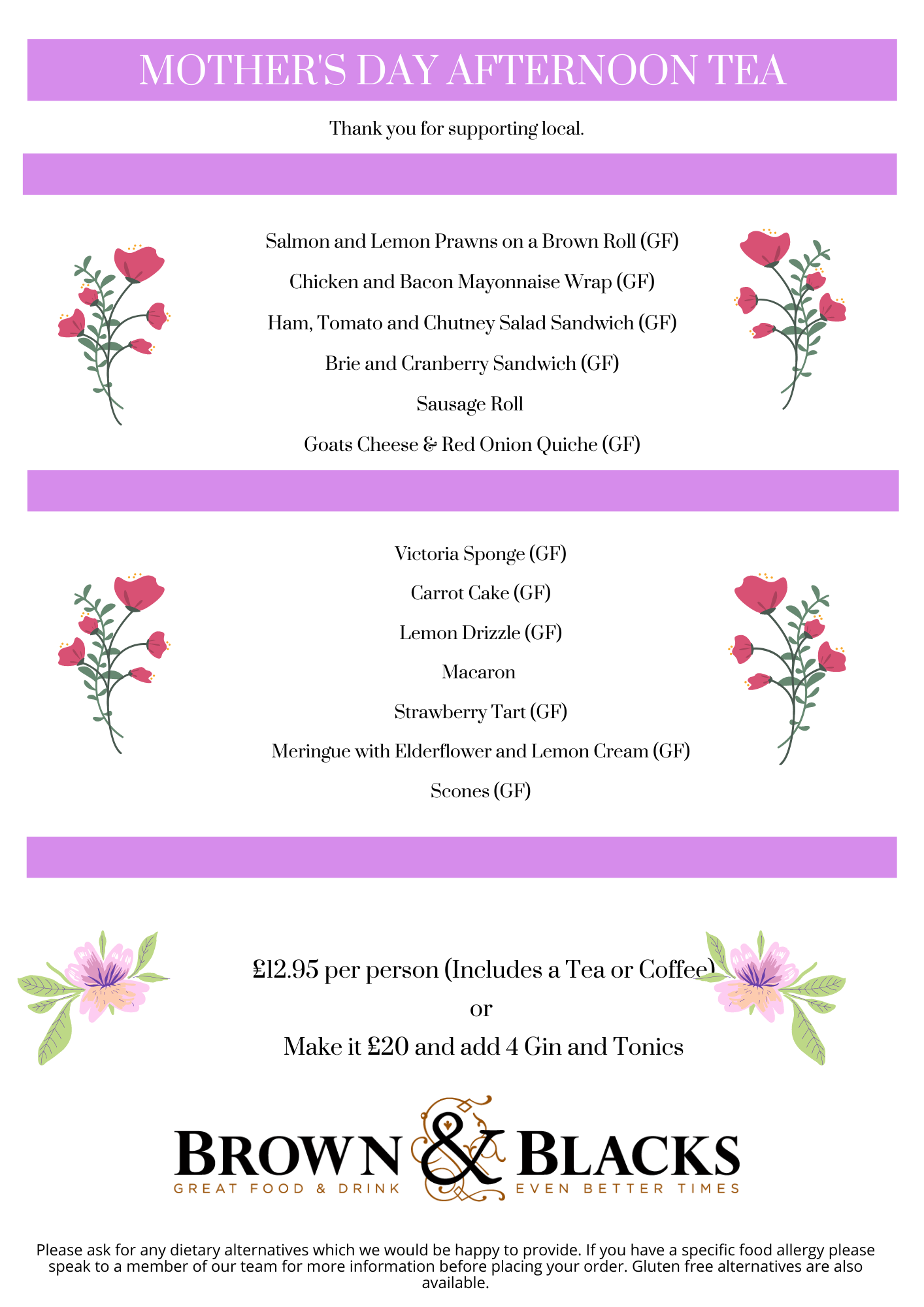 Mothers day afternoon tea website